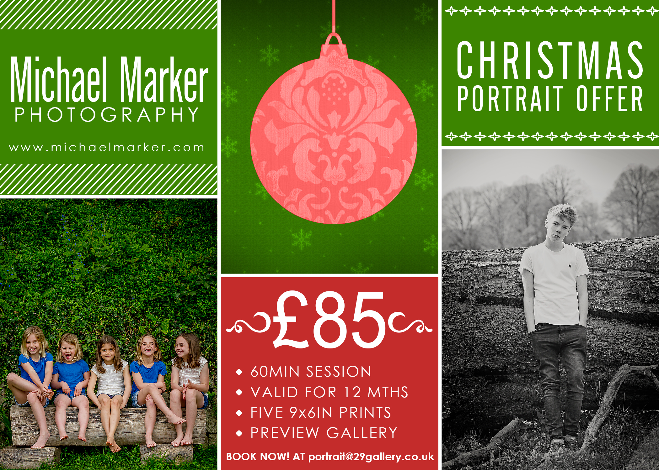 Poster advertising a Christmas special offer for a family portrait sitting by Plymouth portrait photographer Michael Marker Photography
